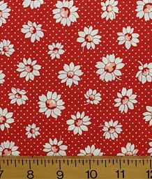 Retro 30's White Flowers, Red