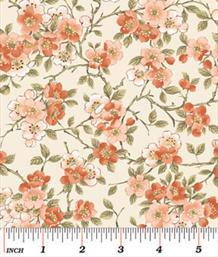 Blossoms, Coral on Cream