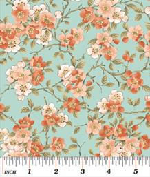 Blossom, Coral on Teal