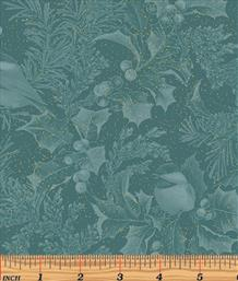 Chickadees & Holly All Over, Teal