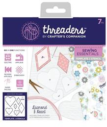 Threaders Template & Stencil - Diamond & Heart